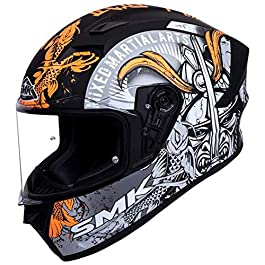 SMK Helmets – Stellar – Samurai – Black Grey Orange – Pinlock Anti Fog Lens Fitted Single Clear Visor Full Face Helmet…
