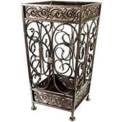 Brelso Super Quality Umbrella Stand, Umbrella Holder, Antique Look Metal, Entry Hallway Décor, Square Style, w/Removable Drip Tray. (Antique Bronze)