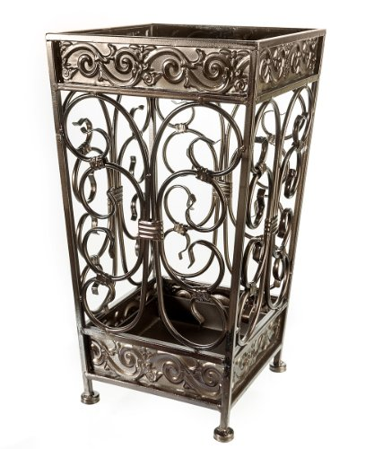 Brelso Super Quality Umbrella Stand, Umbrella Holder, Antique Look Metal, Entry Hallway Décor, Square Style, w/Removable Drip Tray. (Antique (Antique Holder)