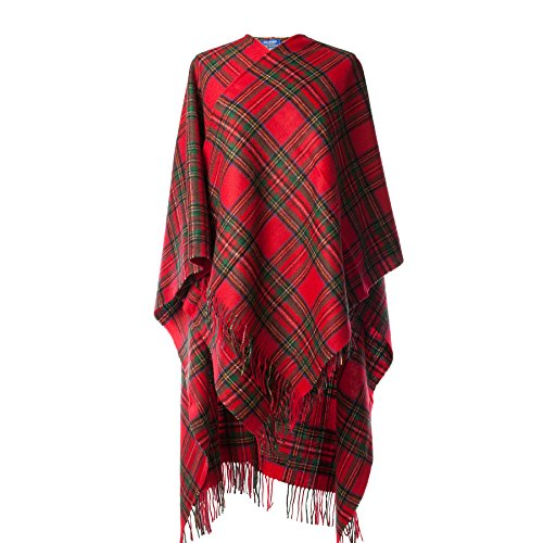 Royal Stewart Tartan (Edinburgh 100% Lambswool Scottish Tartan Long Cape Stewart Royal (One)