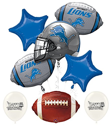 Lions Football Balloon - NFL Football NFC Teams Party Balloon Bouquet Bundle with Team Option (Detroit Lions)