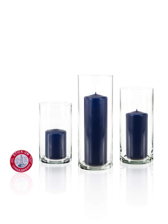 Yummi Set of 12 Slim Pillar Candles Cylinder Vases - Navy Blue