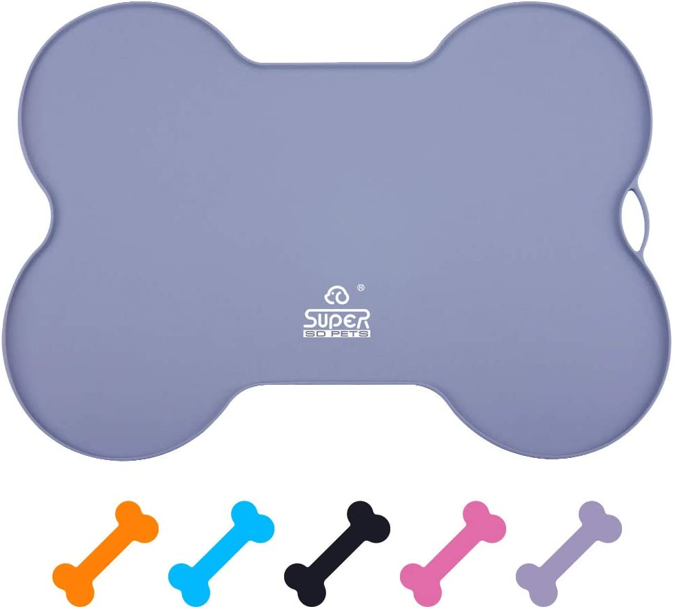 Bone Shaped Pet Feeding Mat SUPER DESIGN Silicone Waterproof Placemat FDA Grade Silicone Raised Lip Non Spill Dog Cat Bowl Mat Grey