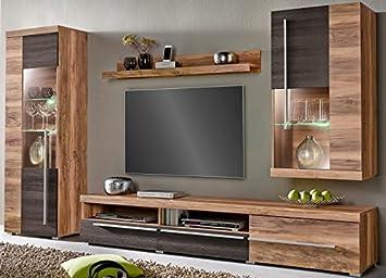 Generic WOHNWAND 4 Tlg Wohnzimmer Schrank Satin NUSSBAUM Darkwood WENGE  Matt Neu 379591
