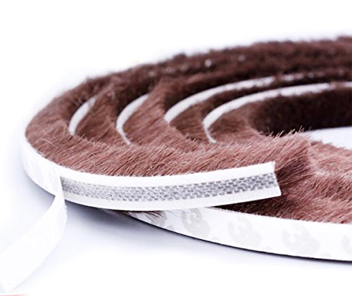 Weather Stripping Brush Self Adhesive Seal Strip Pile Weatherstrip Sweep for Doors & Windows - 16 Ft (3/8 3/8 inch, Brown)