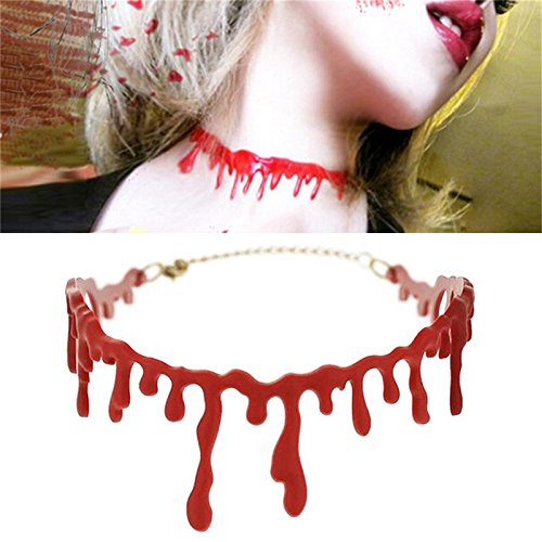 LONG7INES 2Pcs Halloween Blood Necklace, Throat Necklace Bleeding Red, Deathrock Red Stitch Choker Horror Drip Slit, Party Dress Ball Punk Rock