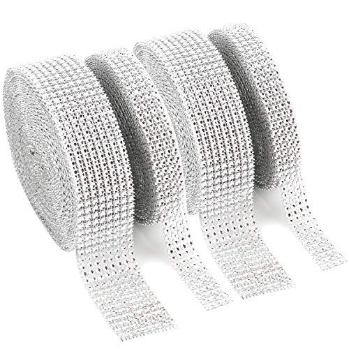 (Foraineam 2 Rolls 8 Row 10 Yard & 2 Rolls 4 Row 10 Yard Rhinestone Ribbon Silver Diamond Bling Sparkle Ribbon Wrap )