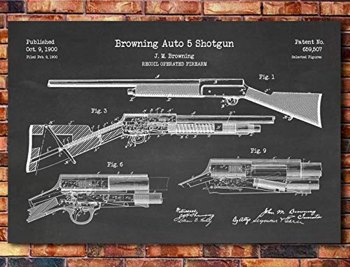 Browning Auto 5 Shotgun Patent Print Art 1900 (multiples sizes and colors available)