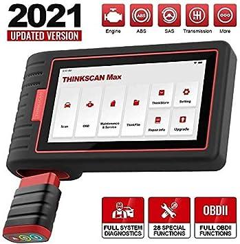 thinkcar Thinkscan MAX Escáner de diagnóstico automotriz de Sistema Completo, Servicio de reinicio 28, Herramienta de escaneo de automóvil OBDII, codificación, actualización de por Vida