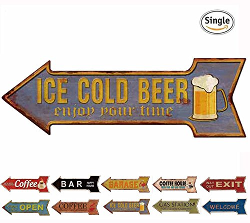 Hantajanss Bar Signs Retro Ice Cold Beer Signs For Wall Decoration