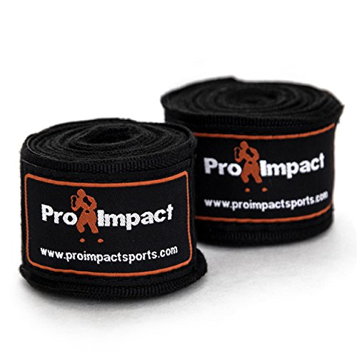 "Pro Impact Mexican Style Boxing Handwraps 180"" Velcro Closure – Elastic Hand & Wrist Support Muay Thai Kickboxing Training Gym Workout MMA Men & Women - 1 pair (BLACK)"