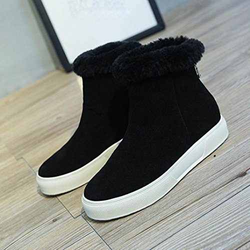 Shoes Inkach Lining Snow Heel Faux Booties Boot Womens Fur Casual Zipper Boots Ankle Flat Black Back 6U6x0qr