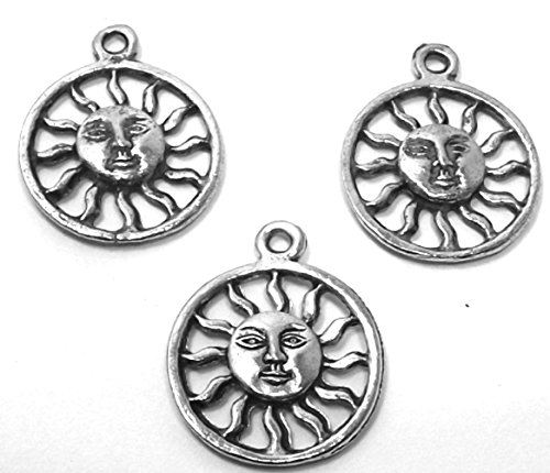 Gold Smiling Sun Charm - Set of Three (3) Silver Tone Pewter Smiling Sun Charms