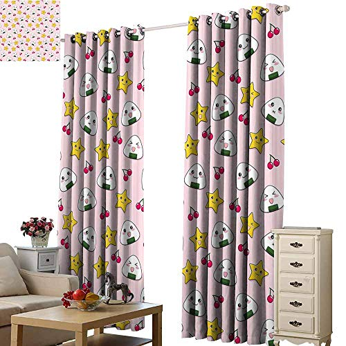 - Warm Family Kids Simple Curtain Cute Japanese Food Icons Rice Ball Cherries Asian Kawaii Anime Pattern Design Set of Two Panels W96 x L108 Pink Multicolor
