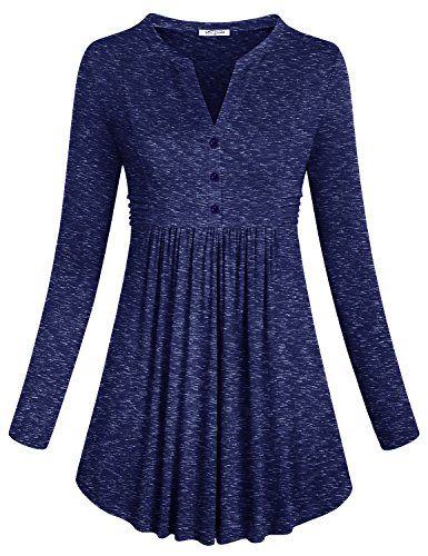 SeSe Code Knit Tops For Women, Ladies Active Long Sleeve Attractive Notch Neck Figure Flattering Tunic Trapeze Classy Flared Hem Classic Empire Waist Cute Buton Décor T Shirt Royal Navy Medium (Dress Code Clothing)
