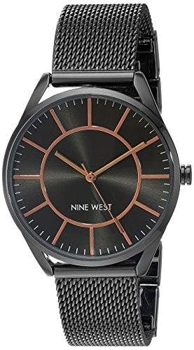 - Nine West Women's NW/1923GNRT Gunmetal Mesh Bracelet Watch