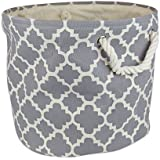 """DII Collapsible Polyester Storage Basket or Bin with Durable Cotton Handles, Home Organizer Solution for Office, Bedroom, Closet, Toys, Laundry (Small Round – 9x12""""), Gray Lattice"""