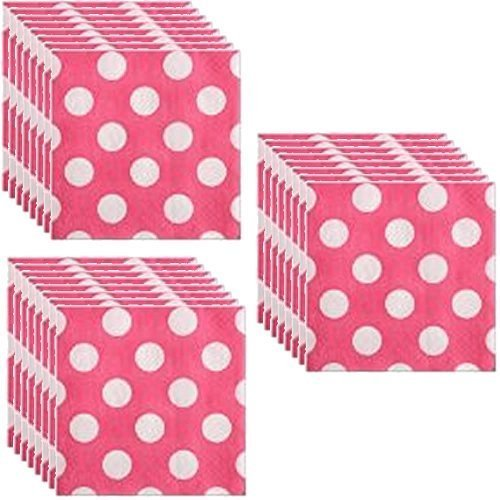 Hot Pink Polka Dot Party Beverage Napkins - 3 pack of 16 (Minnie Mouse Napkins)