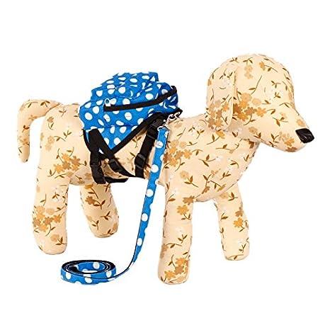 Nueva perro de mascota manchas blancas en la mochila azul para Senderismo Paseos tamaño - M: Amazon.es: Hogar