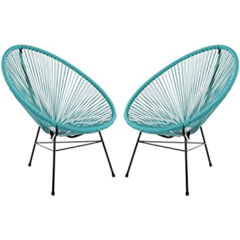 Acapulco Woven Basket Lounge Chair, Set Of 2, Blue