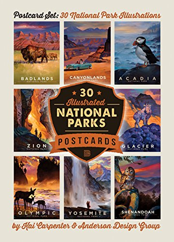 Anderson Collections Set - National Parks: Kai Carpenter Illustrated 30-piece Postcard Set