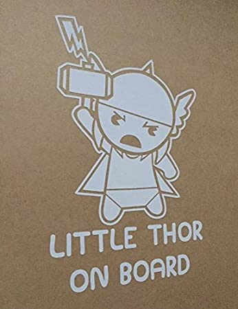 Myrockshirt Sticker Little Thor On Board 17 Cm Varnished Rear Window Car Sticker Baby On Board Made Of High Quality Film Without Background Professional Quality Many Colours To Choose From Made In Germany