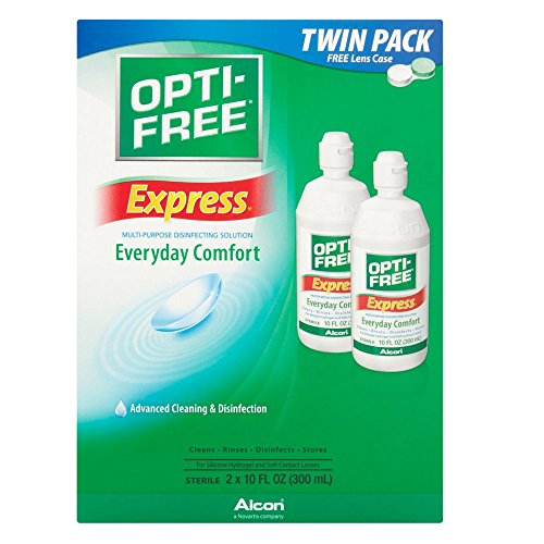 Contact Alcon Solution Lens (Opti-Free Express Lasting Comfort No Rub Multi Purpose Disinfecting Solution-10 oz, 4 pack)