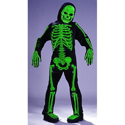 Kid Holloween Costumes (Kids Scary Green Bones Skeleton Boy Halloween Costume Medium (8-10))