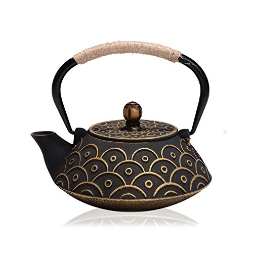JUEQI Japanese Cast Iron Teapot Kettle with Stainless Steel Infuser / Strainer, 27 Ounce ( 800 ML ) (Tetsubin Cast Iron)