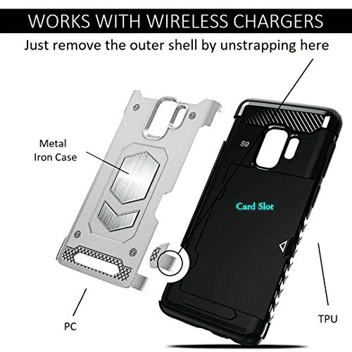 Jazliv [Gun Metal Series] Heavy Duty Protector [Wireless Charging Ready]+[Magnetic Car Mount Ready] with Slim Card Holder (Wallet), Raised TPU for Screen Protection (Silver) Compatible with Galaxy S9 by JazLiv (Image #3)