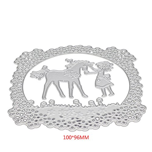 - Hukai Horse Girl Cutting Dies Stencil for DIY Scrapbooking Embossing Album Paper Card,Good Gift for Your Kids to Cultivate Their Hands-on Ability