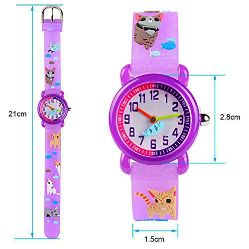 Toddler Kids Children Watch,3D Cute Cartoon Silicone Band Wristwatches Time Teacher Gifts Watches for Kids Girls Toddlers (Purple Cat) by Angels' (Image #2)