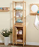 Linen Tower 4 Open Shelves and One Adjustable Shelf Behind Door Made of Wood in Natural Color Bathroom Cabinet Furniture