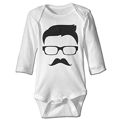 Indoor Color Guard Costumes (ROKMA132 Made For Gentleman Moustache Baby Long Sleeves Climbing Clothes Unisex Outfit Rompers Size 12 Months White Stylish)