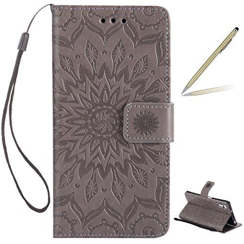 Trumpshop Smartphone Carcasa Funda Protección para Sony Xperia XZs [Rojo] 3D Mandala PU Cuero Caja Protector Billetera Choque Absorción Gris