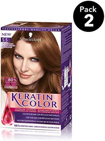 Keratin Color de Schwarzkopf - Tono 5.5 Castaño Dorado - 2 uds - Coloración permanente