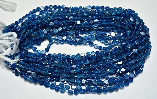 Apatite Coin - GemAbyss Beads Gemstone Neon Apatite Coin Shape Beads, Dark Blue Apatite Beads, Apatite Plain Beads, 6mm Approx, 13 Inches Strand Code-MVG-25026