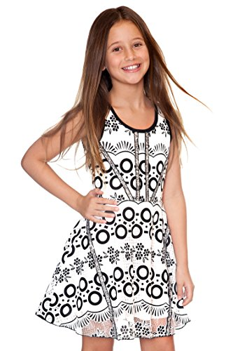 Hannah Banana Big Girls Geometric Burnout Skater Dress w/Sequin Accents, 7-16