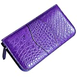 CROCUST Luxury Crocodile Leather Women's Wallet Crocodile Skin Clutch Purse With Wrist Strap