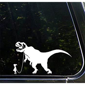 Amazoncom TRex Out For A Walk X Die Cut Vinyl - Vinyl decals for your caramazoncom your stick family was delicious trex vinyl decal