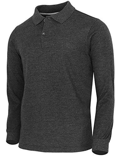 BCPOLO Men's Polo Shirt Cotton Pique Polo Shirt Long Sleeve Polo Shirt-Charcoal XL
