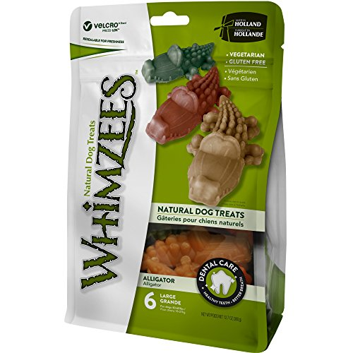 Whimzees Natural Grain Free Dental Dog Treats, Large Alligator, Bag Of 6 - Free Dog Treat Samples