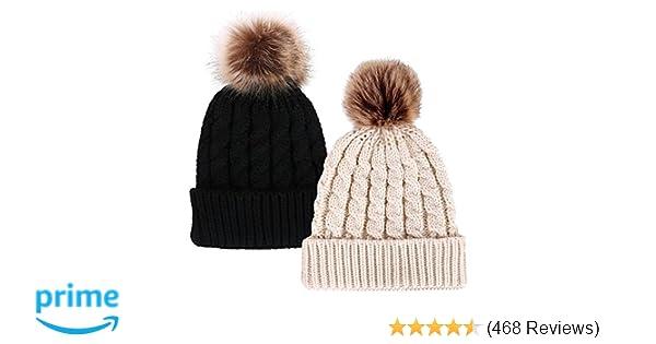 Simplicity Unisex Winter Hand Knit Faux Fur Pompoms Beanie 2 Pc Set ... 0399edceb5fb