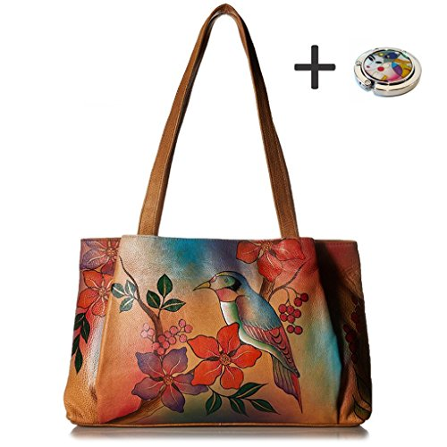 Anna By Anuschka Tote Handbag - Hand Painted Design on Real Leather - Free Purse Holder (Ex L Shopper Bird on Brunch)