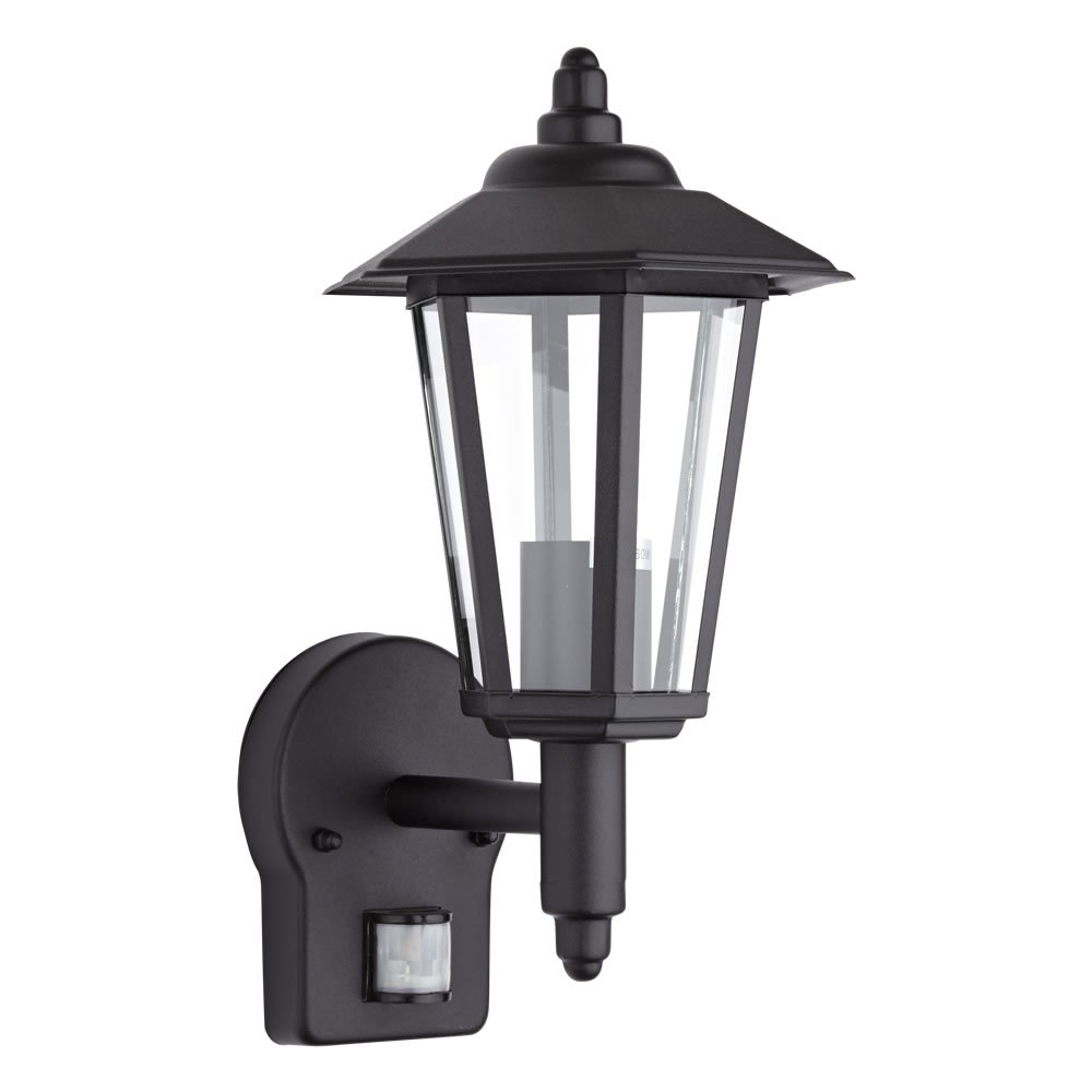 Biard Black Traditional Outdoor Wall Lantern Light With PIR Motion Sensor