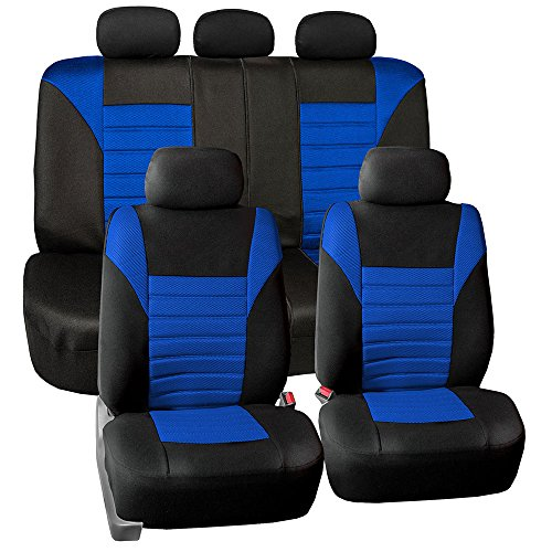 (FH Group FH-FB068115 Premium 3D Air Mesh Seat Covers Full Set (Airbag & Split Ready) Blue/Black Color- Fit Most Car, Truck, Suv, or Van )