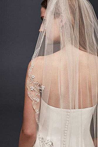 Scrolled Scallop-Edge Fingertip Veil Style V378, Champagne by David's Bridal (Image #1)
