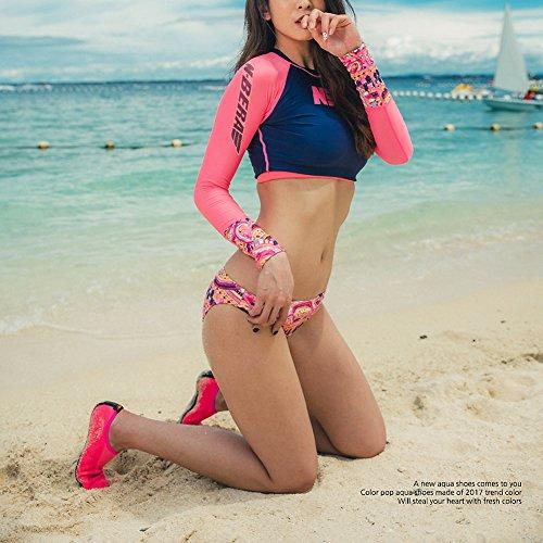 JustOneStyle NBERA Barfuß Flexible Wasserhaut Schuhe Aqua Socken für Beach Swim Surf Yoga Übung Pop_pink