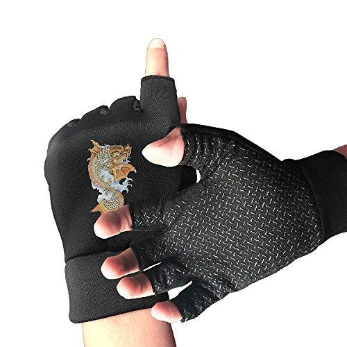 HZZK OUTDOOR Koi Dragon Tattoo Unisex Exercise Cycling Shockproof Half Finger Non-slip Gloves Outdoor Sports Fitness Bike Gloves ()