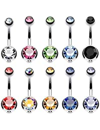 10PCS Belly Button Ring Double Multicolor CZ Stainless Steel 14G Navel Body Piercing Jewelry